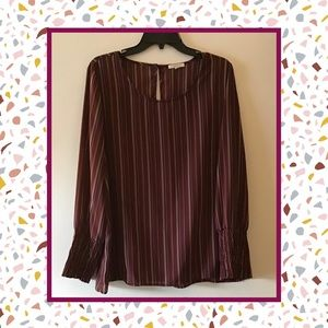 Women's Maroon Striped Long Sleeve Blouse XL